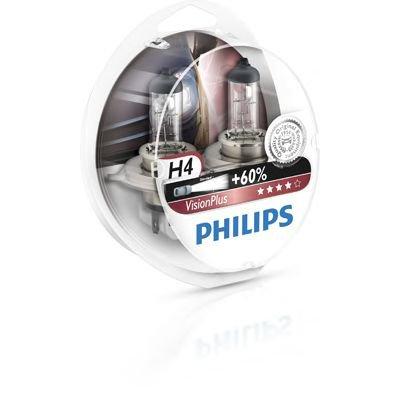 2x philips h4 vision plus halogen 60% more light 12342vps2