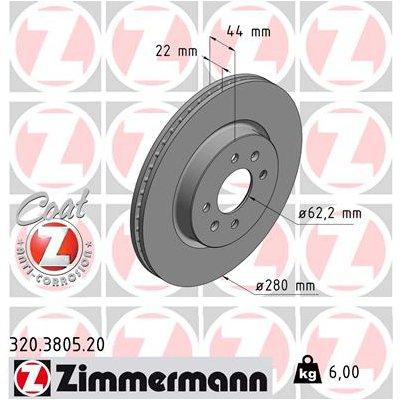 Tarcza hamulcowa ZIMMERMANN 320.3805.20 517121W050