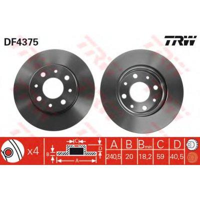 DF4375 TRW Brake Disc Front Axle